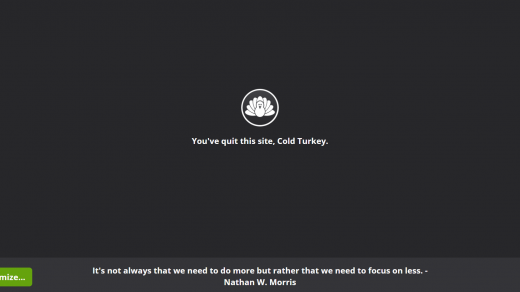 Cold turkey blocked site screen