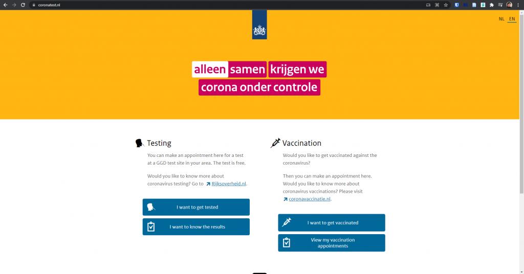 Homepage coronatest website